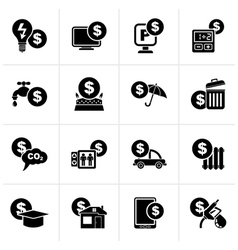 Black payment of bills icons vector