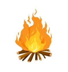 bonfire cartoon burning camp vector image