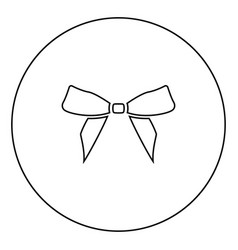 bow black icon outline in circle image vector image