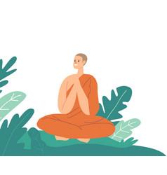 Buddhism monk sitting in lotus posture wearing vector