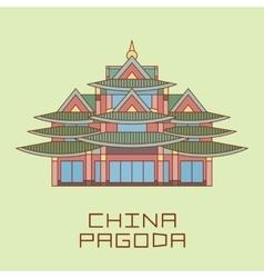 Buddist pagoda white line drawn vector
