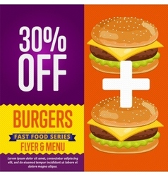 Burgers sale banner vector image