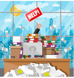 Businessman in pile office papers vector