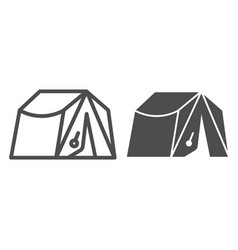 Camping tent line and glyph icon tourism vector