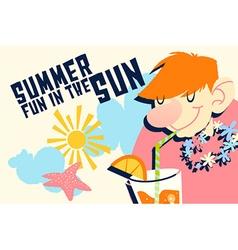 Cartoon summer drink design vector