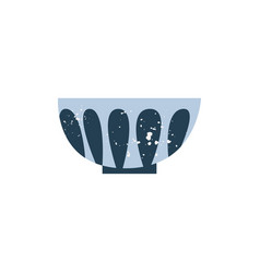 ceramic or porcelain dining bowl in flat cartoon vector image