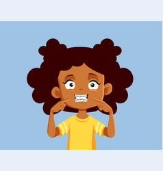 Cheerful girl showing off her new braces cartoon vector