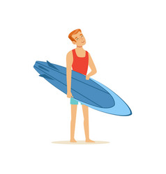 cheerful man standing on the beach with blue vector image