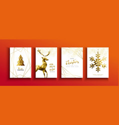 christmas and new year gold low poly deer card set vector image