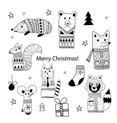 Christmas doodle animals vector