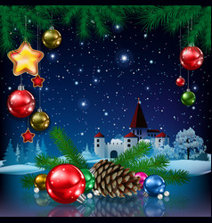 Christmas greeting with pine branch and castle vector
