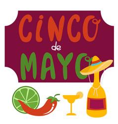 cinco de mayo banner lettering design vector image