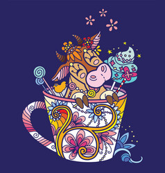 Colorful kawaii cute cow in a cup vector