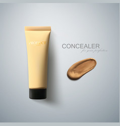 concealer package and smear strokes swatch vector image
