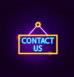 contact us neon sign vector image