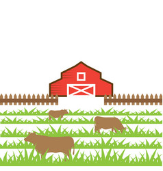 Cow on the field vector