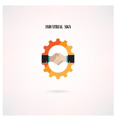 Creative gear concept and handshake abstract sign vector