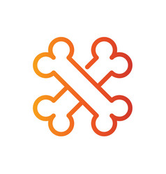 cross bone line color icon vector image