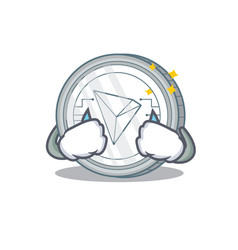 Crying tron coin character cartoon vector