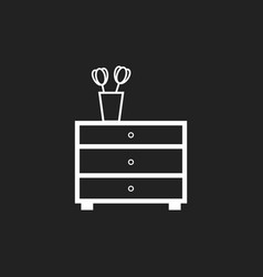 Cupboard furniture icon furniture on black vector