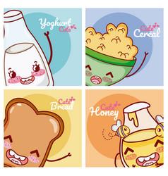 Cute breakfast ingredients kawaii cartoon vector