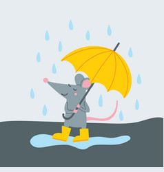 cute rat in yellow rubber boots vector image