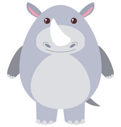 Cute rhino on white background vector
