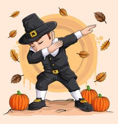dabbing pilgrim boy for thanksgiving vector image