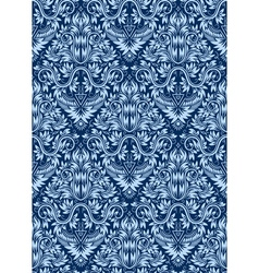 Damask seamless pattern repeating background Blue vector