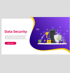 data security concept with people and server and vector image