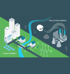 ecology and pollution isometric vector image