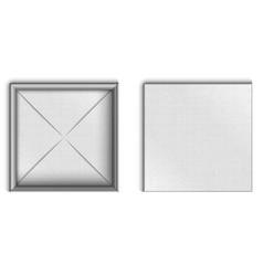 empty open cardboard box white mockup top view vector image