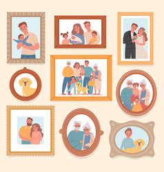 family photos parents and kids portrait in frames vector image