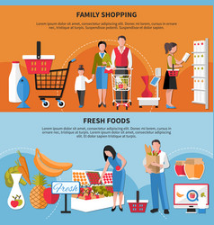 Family shopping fresh foods banners vector