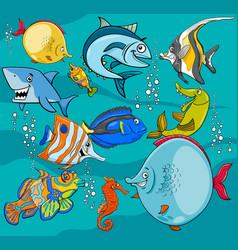 Fish cartoon characters group vector