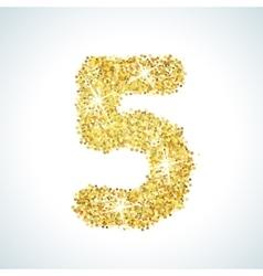 Five number in golden style vector