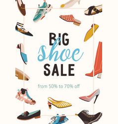 Flyer with shoe sale announcement design of vector