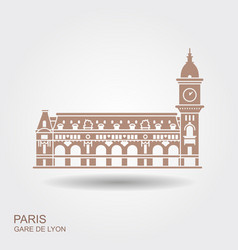 gare de lyon in paris con with shadow vector image