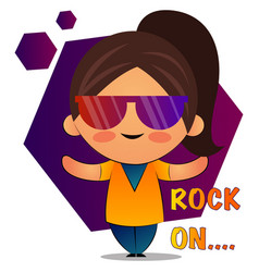 Girl with brown ponytail and colorful sunglasses vector