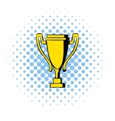 Golden trophy cup icon comics style vector image