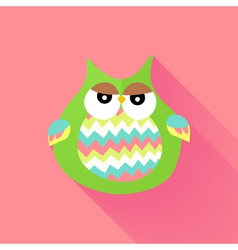 Green flat owl over pink vector image