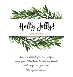 Greeting card invite with pine tree greene vector
