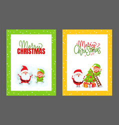 greeting cards christmas tree santa and elf vector image