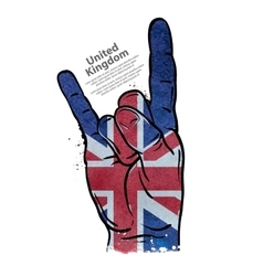 Hand gesture cool rock and roll flag of england vector