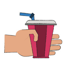 hand with soda vector image