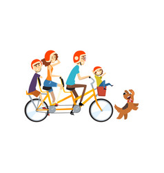 happy family riding on long tandem bicycle vector image