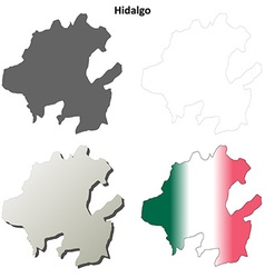 Hidalgo blank outline map set vector image