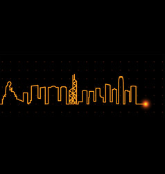 Hong kong light streak skyline vector