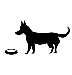 Hungry dog with an empty bowl vector