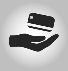 Icon hand holding credit card isolated vector